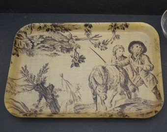 Former Plateau scenery Champêtre 1950's fiberglass. Vintage french fabric of Jouy Fiberglass Tray.  Retro french Fifties Serving Tray