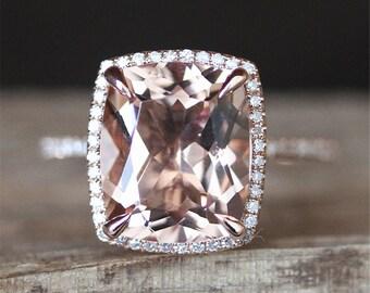 Morganite Engagement Ring VS 10*12mm Cushion Cut Morganite Ring Halo Diamonds Ring Half Eternity Stackable Gemstone Ring 14K Rose Gold Ring