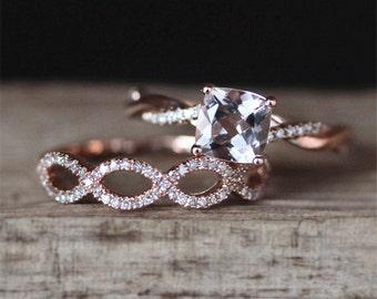 2pcs Rose Gold Morganite Engagement Ring Set VS 6mm Cushion Cut Morganite Ring Half Eternity Diamonds Wedding Ring 14K Rose Gold Bridal Sets