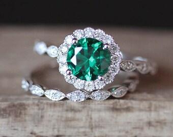 2pcs Emerald Ring Set 7mm Round Cut Lab Created Emerald Engagement Ring Set Art Deco Half Eternity Wedding Ring Set 14K White Gold Ring Set