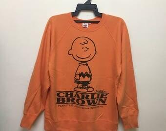 Vintage Charlie Brown Peanuts Snoopy Sweatshirts Size M Rare