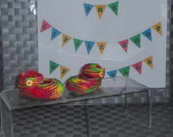 Mary Jane Shoes - Hand Knitted - Multi-Coloured - 0-3 Months