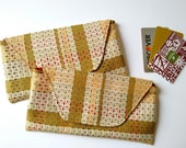 Tribal Cloth Wallet, 70s Inspired Checkbook Wallet, Organizing Bag, Brown Wallet Clutch