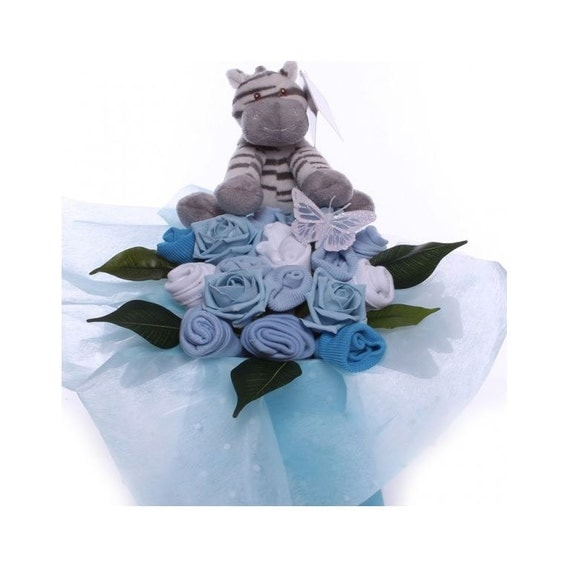 Baby Bouquet for a Baby Boy with Soft Plush Zebra.