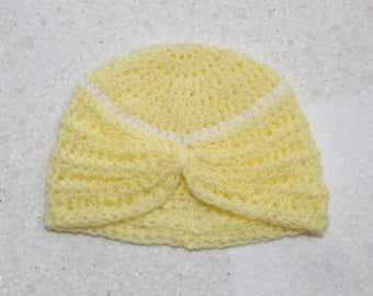 Baby hat, Baby turban hat, Turban hat, Yellow turban hat, Baby girl hat, Baby girl turban hat, Crochet hat, Photo prop, Ready to ship,
