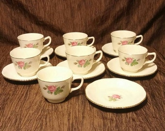 Homer Laughlin Calirose rare footed one tea cup and one saucer set, free shipping