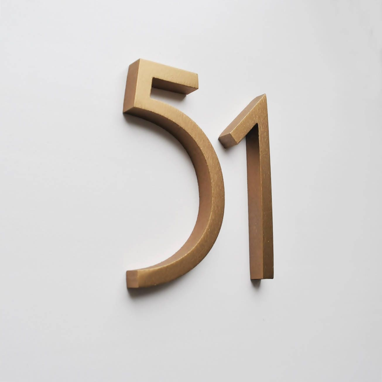 Aluminium Numbers 4inch (10cm) Copper, Gold, Black Colors Metal House  Numbers And