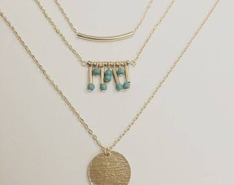 18k Gold Filled Turquoise Triple Layered Gold Necklace