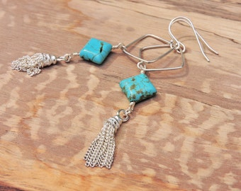 Turquoise Gemstone Swarovski Diamond Sterling Silver Tassle Dangle Earrings Turquoise Jewellery