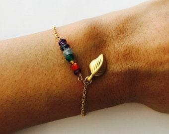 Yoga Bracelet, Chakra Bracelet, Healing Bracelet, 7 chakra Bracelet, Layering Bracelet, Boho Bracelet, Leaf Bracelet, Bohemian Bracelet
