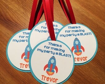 Rocket Ship Thank You Tags - Treat Bag Tags - Space Party