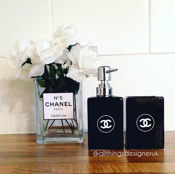 Chanel Designer Inspired Soap Dispenser And Tumbler Bathroom