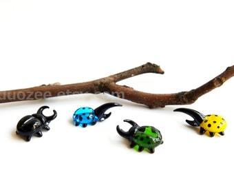 Handmade Lampwork Glass Beetle Figurines, Stag Beetle, Hercules Beetle, Fairy Garden