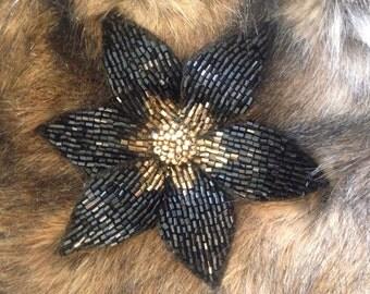 Handmade beading embroidery flower brooch