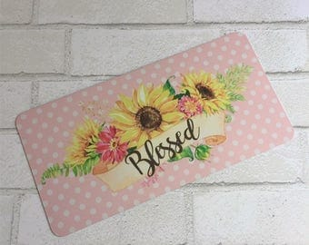 Sunflower Sign - Blessed Sign - Wreath Sign - Aluminum Sign - Wreath Attachment