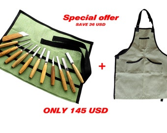 SALE!!!woodcarving tools set and canvas apron wood carving tools canvas apron apron work apron woodcarving tools set gouge set apron canvas