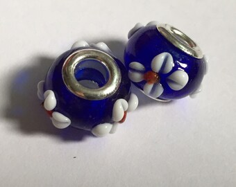 2 Blue Pandora Style Beads with White and Red Flowers