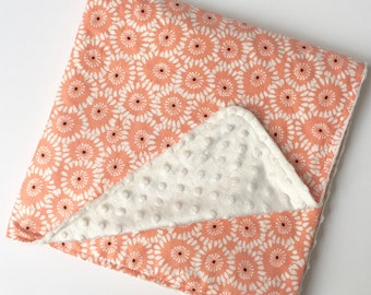Floral Minky Blanket, Baby Cot Quilt, Pink Coral White, Pram Blanket, Stroller Blanket, Baby Cot Blanket, Baby Blanket Minky