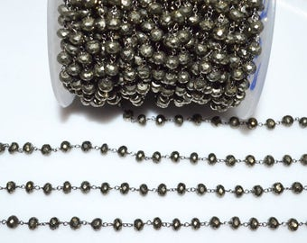 Beautiful Pyrite Rosary Beaded Chain - Natural Pyrite Bead Wire Wrapped Chain , Sold By Foot ,  5.50 - 6 mm - RB5517