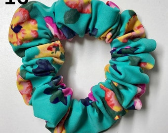 Hair puffs, floral turquoise