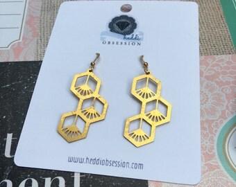 Cute brass earrings geometric dandelions