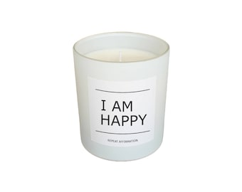 Soy Wax I Am Happy Quote Candle - Grapefruit, Rosemary & Sandalwood