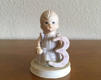 Vintage Lefton China Christopher Collection Three Year Girl Figurine- Birthday Girl Figurine