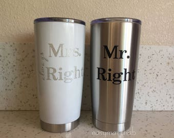 Mr Right & Mrs Always Right Coffee Mugs. Wedding Gift. Bridal Shower Gift. His and Her Gifts. Personalized Coffee Mug