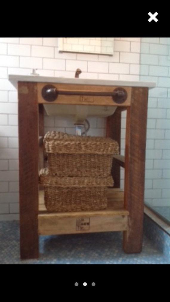 Custom bathroom vanity reclaimed wood with steel pipe towel for 24 reclaimed wood vanity