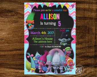 Trolls Invitation - Trolls Party - Trolls Birthday Invitation - Trolls Birthday Invite. Digital file