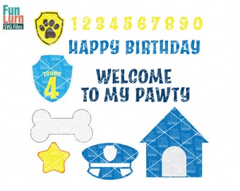 Police Dog theme, Pup themed, Birthday, banner elements, First birthday, Kennel, bone, hat, paw print, svg png dxf eps, cameo file, cricut