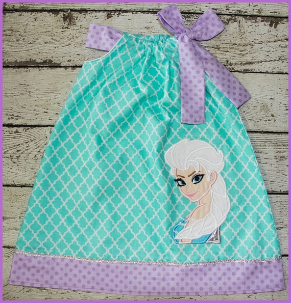NEW Super Cute Elsa Frozen Pillowcase style dress in Mint Quatrefoil and Lavender polka dot