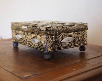 Moroccan  jewelry box, chest, home decor, orange, ethnic, trinket box