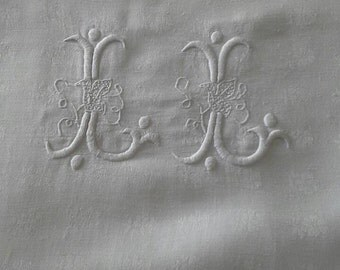 "Vintage French Monogrammed damask tablecloth ""LL"""
