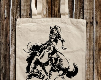 Rodeo Girl Graphic Print Canvas Tote Bag