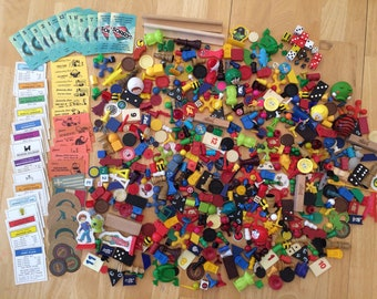 3 LB Game Pieces, 615 pieces, upcycle supplies, upcycle materials, crafting, craft supply, monopoly, dominos, board game pieces
