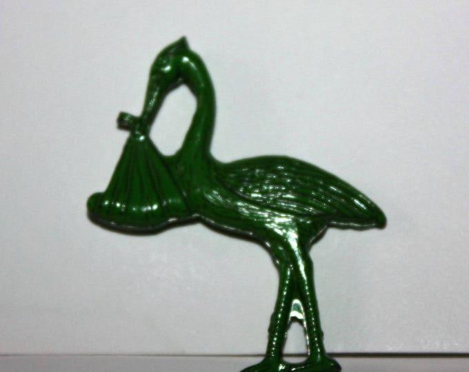 Vintage Metal Stork Charm Cracker Jack Toy Prize