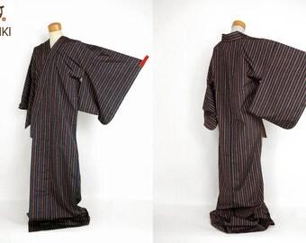 M51203 Cool Japanese Hitoe Pongee Kimono Vintage