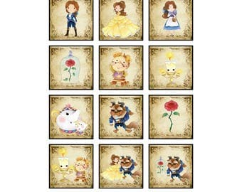 Beauty and the Beast Digital Collage Sheets | 2x2 Inch Squares, Inchies, Printable Stickers, Jewelry Supplies, Digital Ephemera, DIY Craft