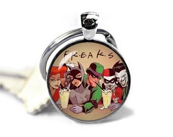 Freaks Keychain Harley Quinn Batman Joker Little Siren Keyfob Keychain Superheroes Fandom Jewelry