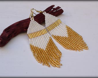 White and Gold Fringe Earrings | Beaded Fringe | Seed bead earrings | Nickel free | gift for her | Spring Jewelry