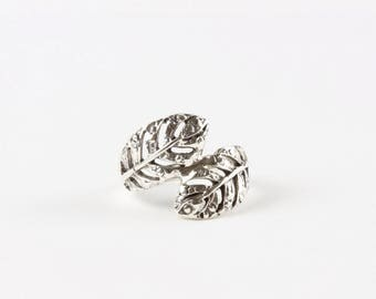 Sterling Silver Leaf Wrap Ring / Silver Statement Ring / Boho Ring / WSR11