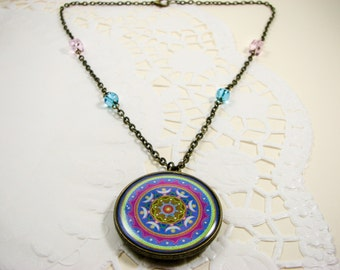 Blue mandala necklace, Indian jewelry, Mandala pendant, Unique necklace, Mandala jewelry, Oriental necklace, Ethnic jewelry, Asian jewelry