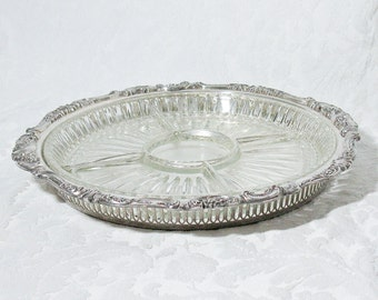 Wallace Silver Plate Gallery Tray with Five Section Glass Liner - Baroque Pattern