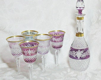 German Bohemian Cut Glass Decanter - Amethyst Cut to Clear Decanter with Gold Trim with Five Matching Multi-Color Glasses