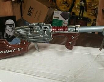 Vintage Tin Gun Japanese Lithographed Tin Space Gun Toy Tommy 6 gun tripod machine gun 1960's