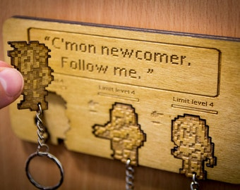 "Final Fantasy VII Inspired ""C'mon Newcomer"" Lasercut & Engraved keyring and wall mount"