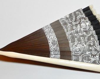 European Folding Fan Victorian Lady's Hand Fan of rosewood lace and silk with bone frame Fan Collector