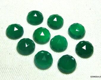 10 pcs Lot 6mm Green Onyx Round Rose Cut gemstone, Green Onyx Rose Cut cabochon round Gemstone, Green Onyx Rose Cut Faceted Round Cabochon