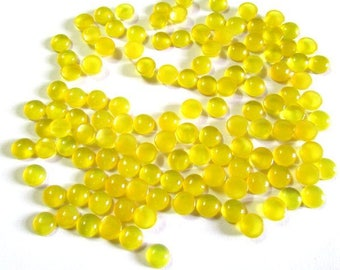 10 Pieces Lot 4mm YELLOW  CHALCEDONY Round Cabochon Smooth polished gemstone